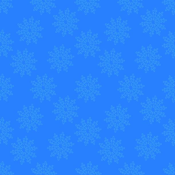 subtle light blue snowflakes falling in a seamless pattern background vector art illustration
