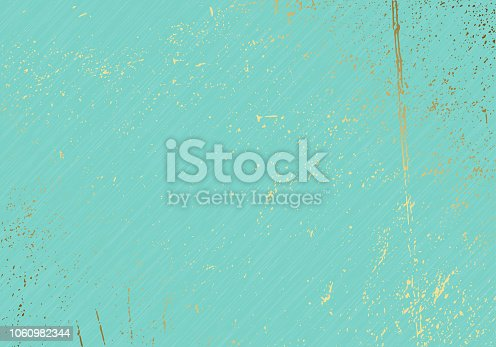 Subtle turquoise vector texture overlay. Abstract gold splattered glamour background. Dotted grain golden grunge backdrop. Festive christmas luxury backdrop.