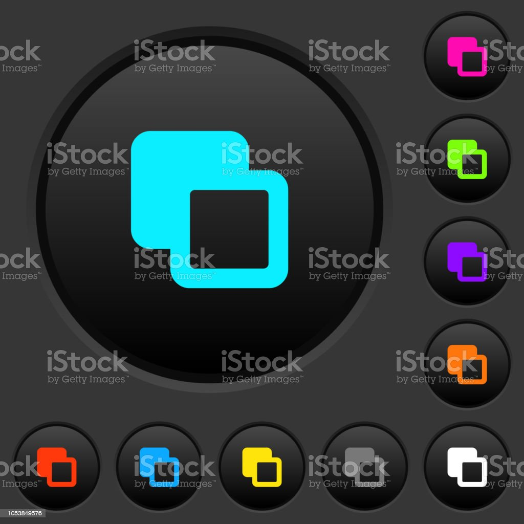 Subtract Shapes Dark Push Buttons With Color Icons Stock Vector Art ...