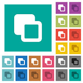 Subtract shapes square flat multi colored icons