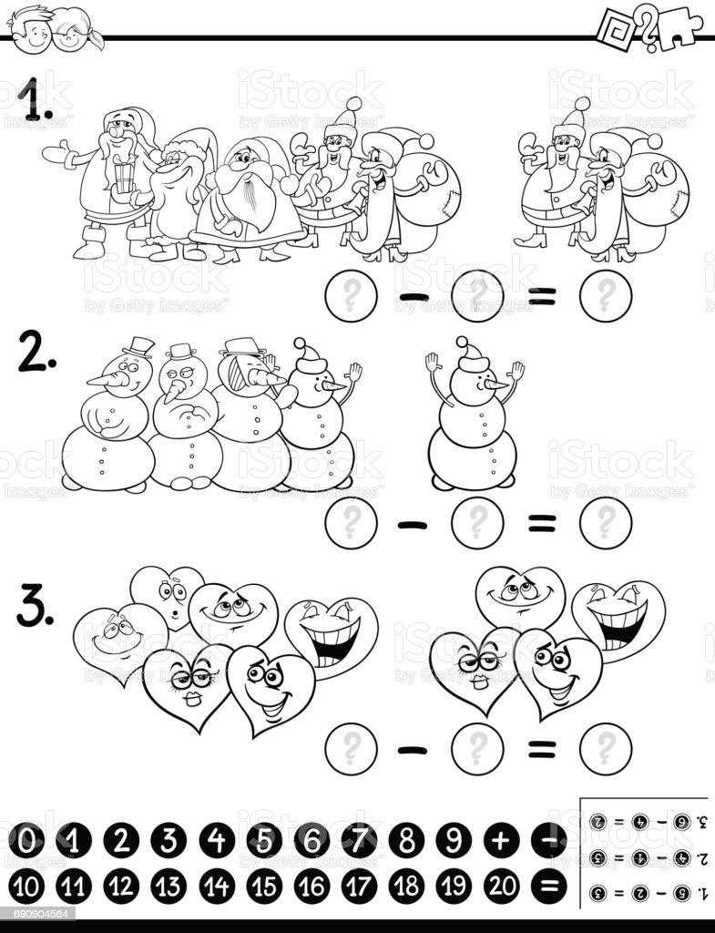 Ilustracion De Pagina Para Colorear De Resta Actividad Y Mas