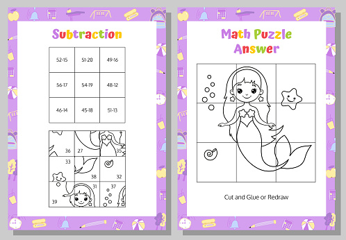 Subtraction Math Puzzle Worksheet. Educational Game. Mathematical Game. Vector illustration.
