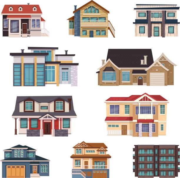 Vorort Häuser flache set – Vektorgrafik