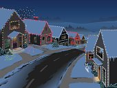 Twinkling Christmas lights sparkle in the twilight in a suburban neighborhood.