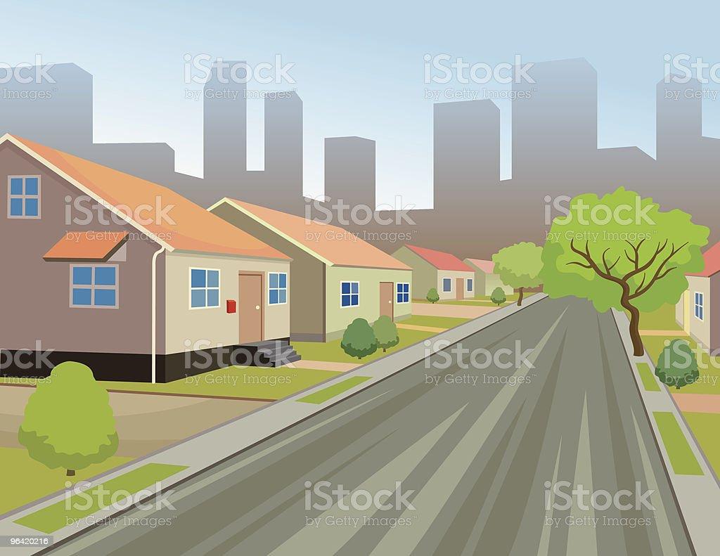 Suburban City Street on Skyline Background vector art illustration