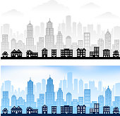Suburban Community with City skyline panoramic royalty free vector graphic. This 100% editable vector illustration features a rural skyline panoramic with city skyline panoramic in the background. The building in the front row are light blue and the background is dark blue. Image download includes vector graphic and jpg file.