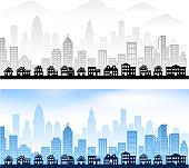 Suburban Community with City Skyline