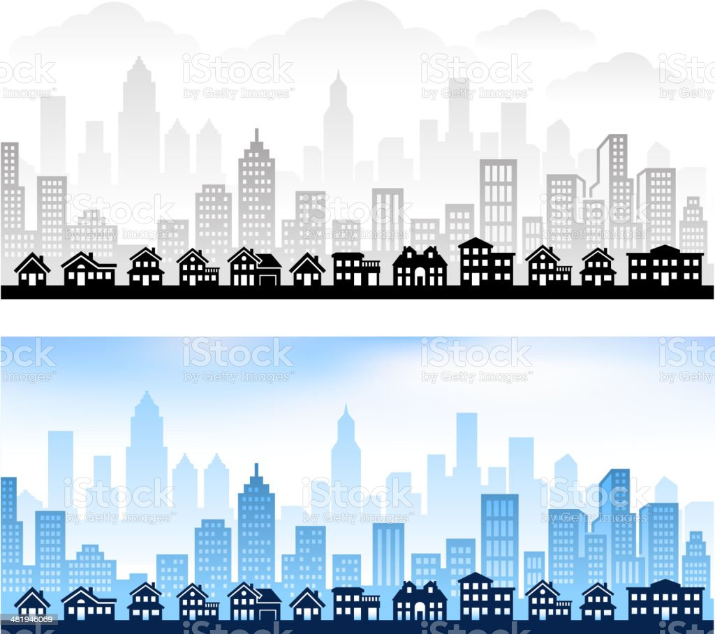 Suburban Community with City skyline panoramic Royalty free vector graphic vector art illustration