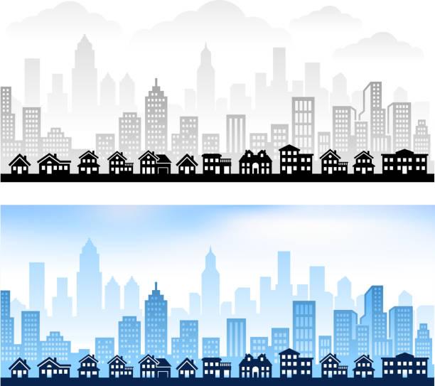 Suburban Community with City skyline panoramic Royalty free vector graphic Suburban Community with City Skyline community silhouettes stock illustrations
