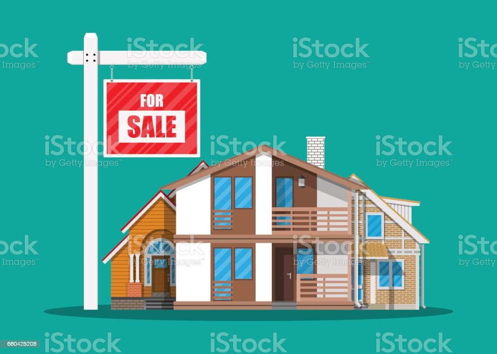 Suburban family house set and for sale placard vector art illustration