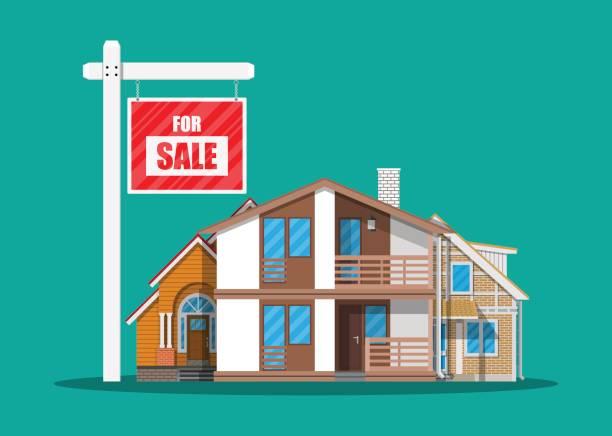 suburban familienhaus set und für verkauf plakat - ziegelwände stock-grafiken, -clipart, -cartoons und -symbole