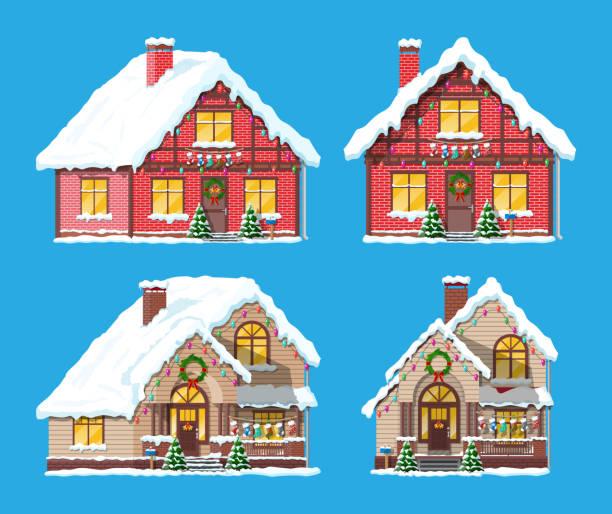 vorstadthaus bedeckt schnee. - ziegelwände stock-grafiken, -clipart, -cartoons und -symbole