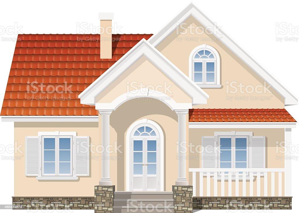 suburban house isolated vector art illustration