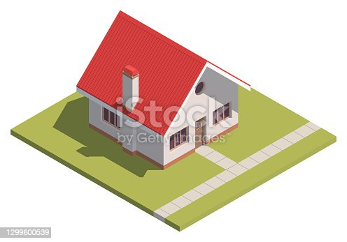 Suburban House isometry. Hyper detailing isometric view of a isolated house with a red roof. 3D family house for video games or real estate advertising. For Your business. Vector Illustration
