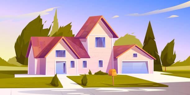 Suburban house, residential cottage, real estate vector art illustration