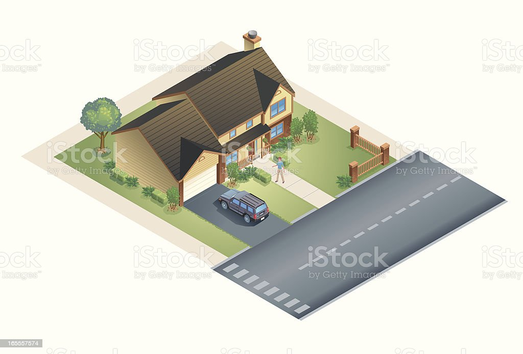 Suburban House vector art illustration
