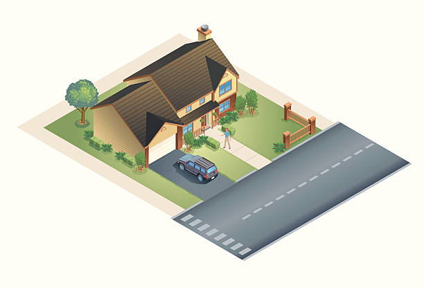Suburban House A modern looking vector isometric house set on a landscaped lot. All appliances and SUV included. driveway stock illustrations