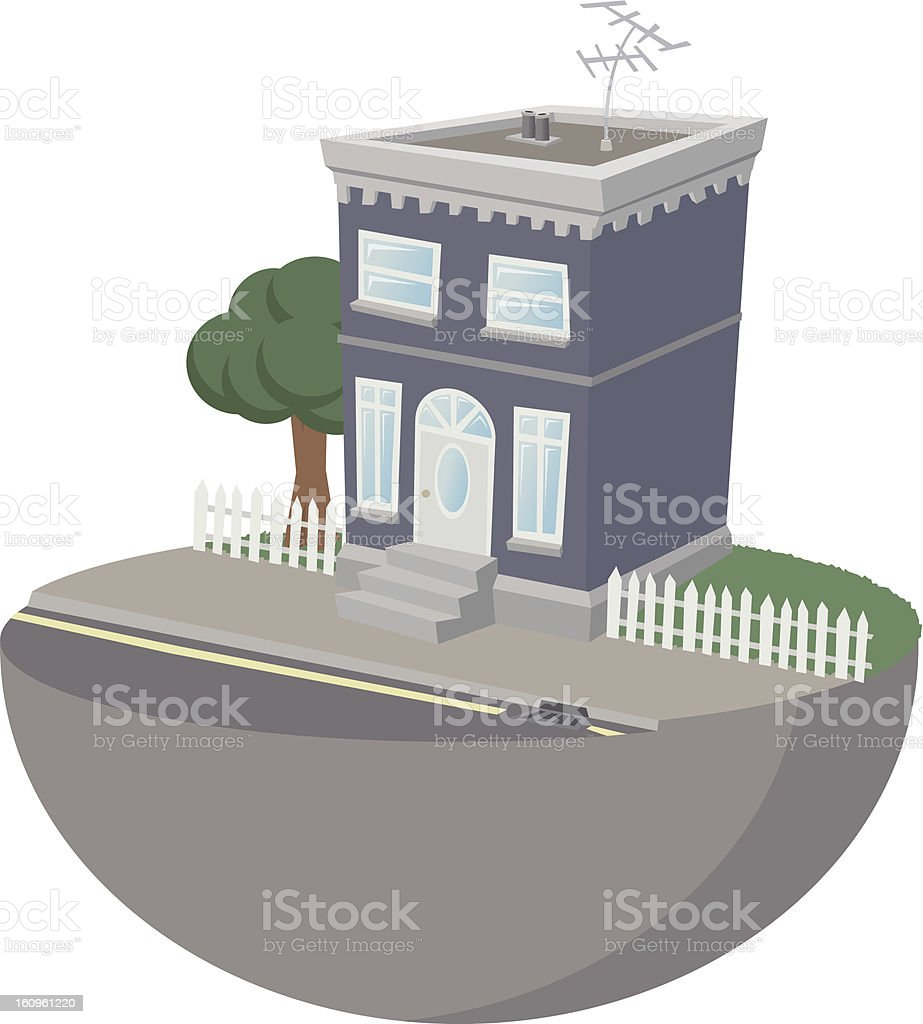 Suburban house with tree royalty-free stock vector art