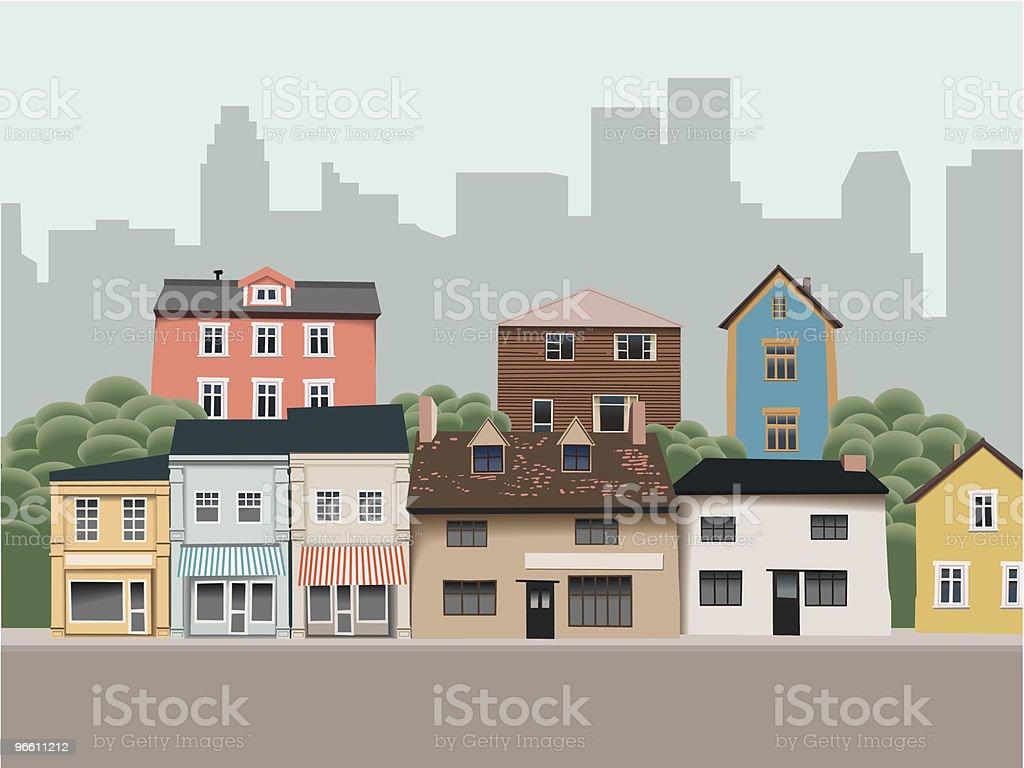 Suburban Houses Near Downtown vector art illustration