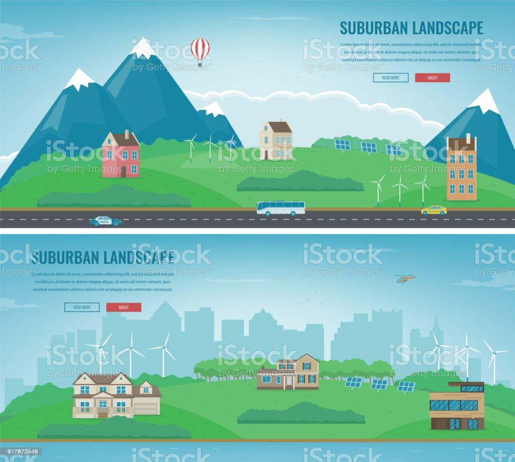 Ilustración de Paisaje Suburbano Plantilla De Paisaje Urbano Con ...