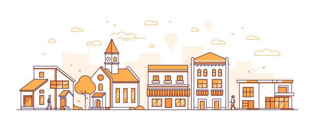 illustrazioni stock, clip art, cartoni animati e icone di tendenza di suburban landscape - modern thin line design style vector illustration - city walking background