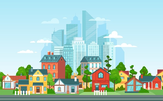 Suburban landscape. Urban architecture, small and big city buildings. Suburbans houses cartoon vector illustration. Countryside, suburbs with private cottages with city skyline on background