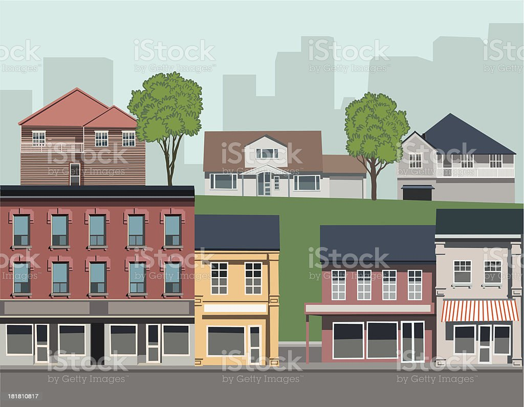 Suburban landscape with different types of housing vector art illustration
