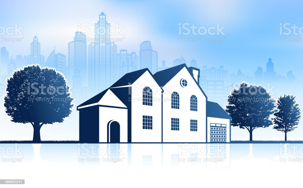Suburban Mansion with City skyline panoramic Background royalty-free stock vector art