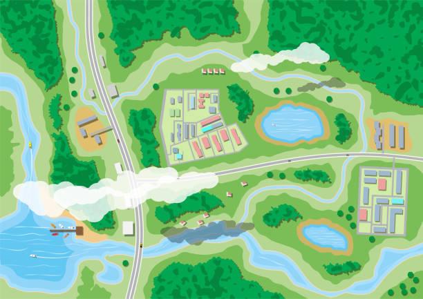 ilustraciones, imágenes clip art, dibujos animados e iconos de stock de mapa de naturaleza suburbana - overhead