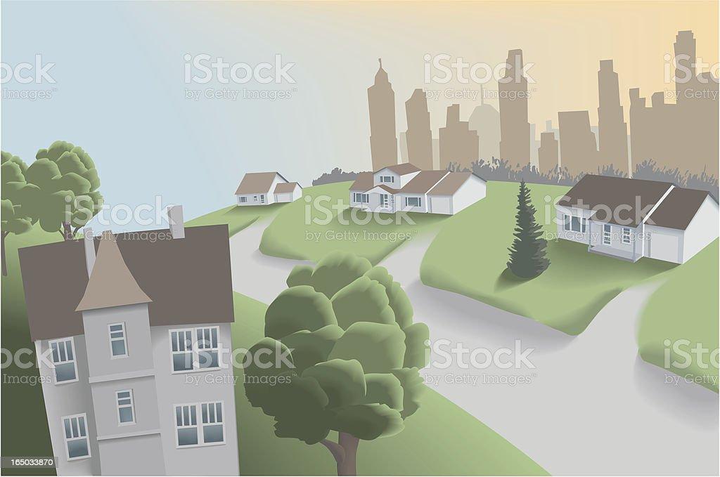 Suburban Neighbourhood Near Downtown vector art illustration
