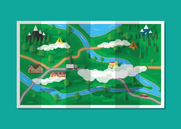 suburban paper nature map. gps and navigation - river paper stock illustrations, clip art, cartoons, & icons