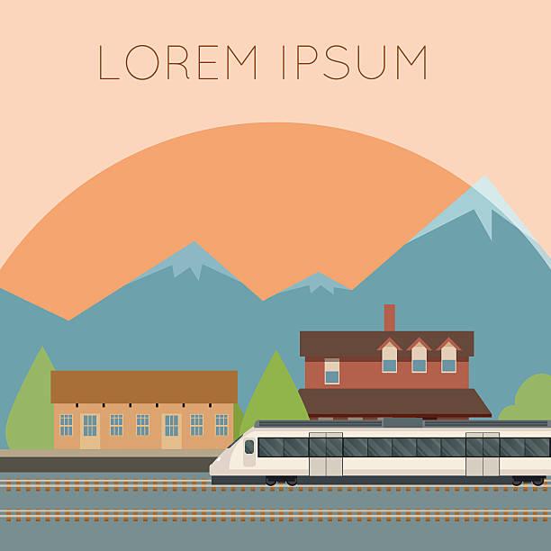 illustrazioni stock, clip art, cartoni animati e icone di tendenza di treno suburbano banner - subway