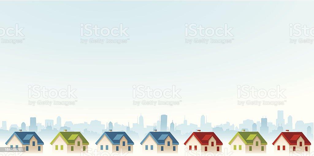 Suburban View vector art illustration