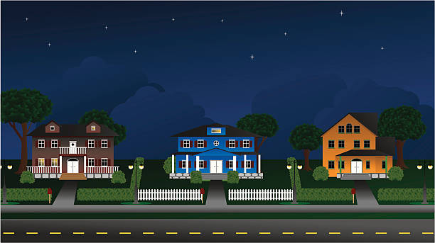 Suburbia - Houses at night vector art illustration