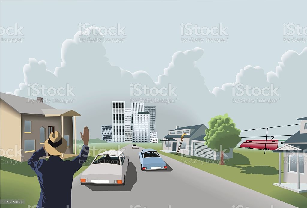 Suburbs and the city vector art illustration
