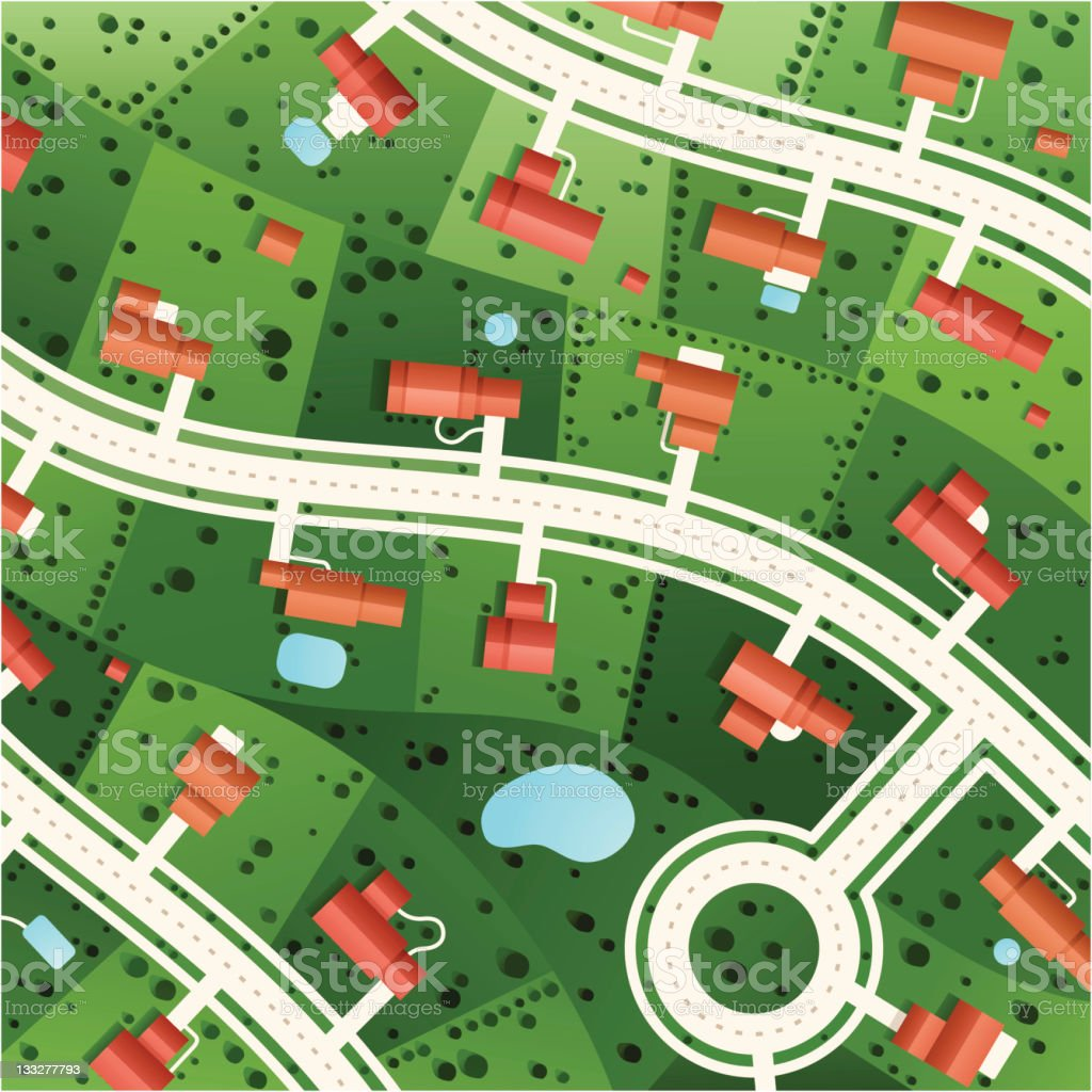 Suburbs vector art illustration
