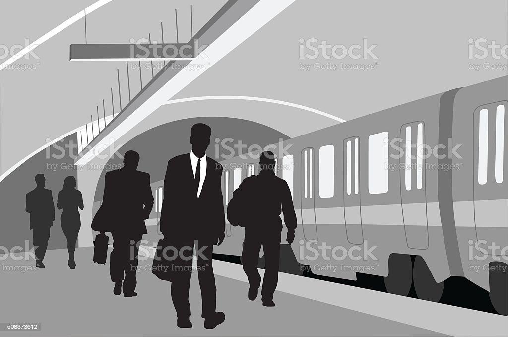 Subway  Business People vector art illustration