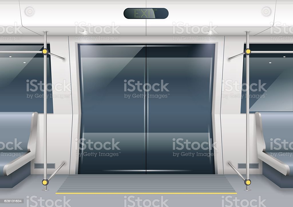 Subway car doors vector art illustration