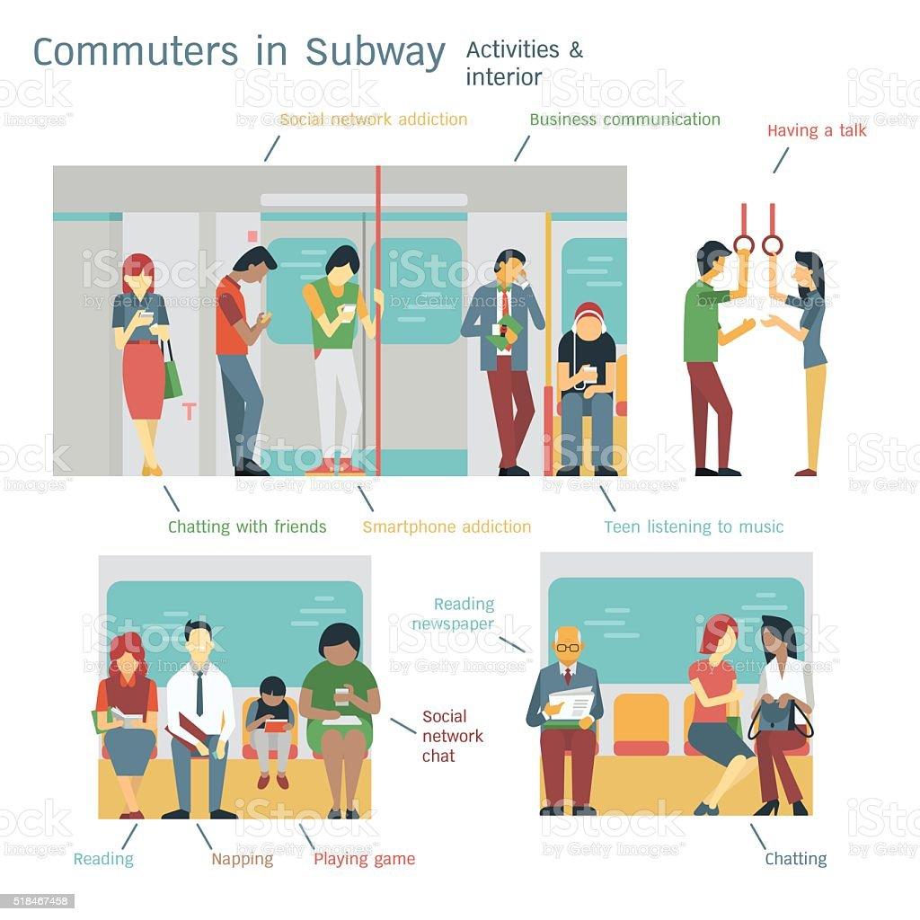 Subway commuters vector art illustration