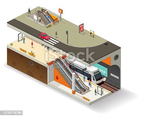 Subway station isometric vector illustration. Left-hand traffic version.