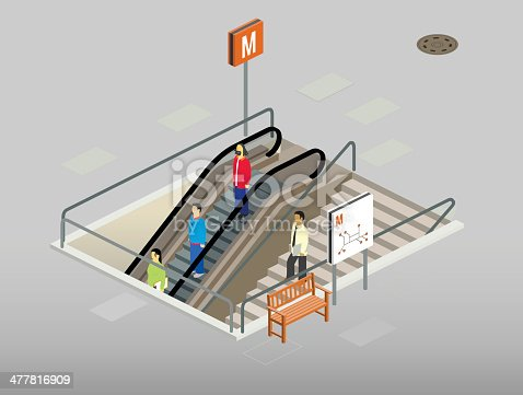 metro entrance. 3 people go down wit an escalator, one uses the stairs. there is a bench and a map outside. 26.57° isometric projection.