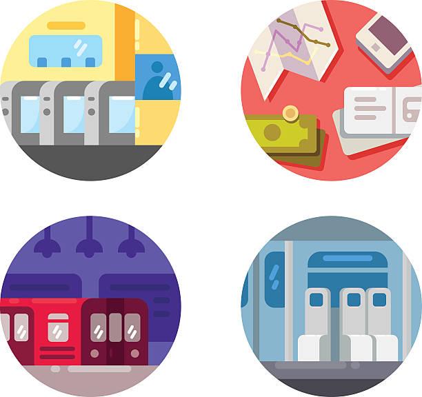 illustrazioni stock, clip art, cartoni animati e icone di tendenza di subway flat icons - subway
