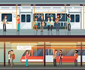 Subway inside with people man and waman. Metro platform and train interior. Urban metro vector concept. Illustration of metro platform, underground station with passenger people