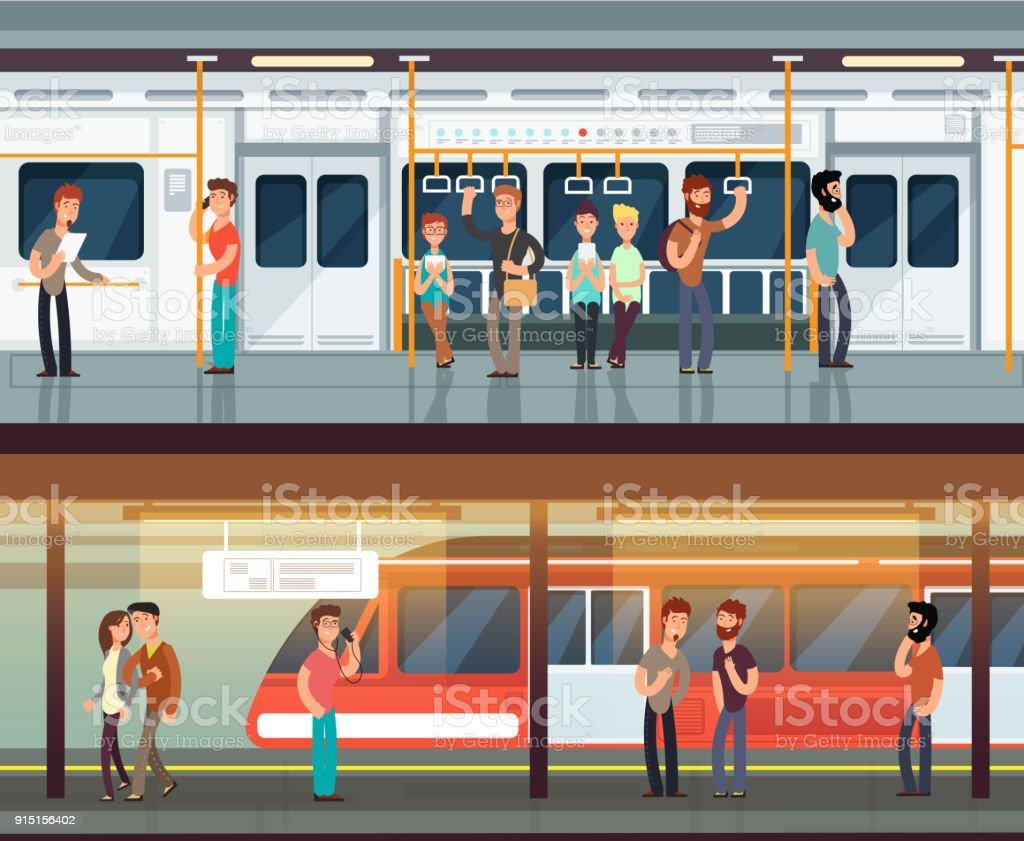Subway inside with people man and waman. Metro platform and train interior. Urban metro vector concept vector art illustration