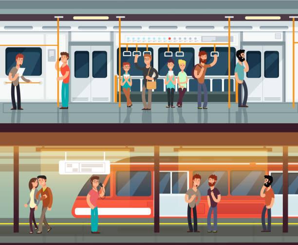 地下鉄内の人々 の人と偶然見かけた。地下鉄駅のホームと列車内部。都市地下鉄ベクトル概念 - 通勤点のイラスト素材/クリップアート素材/マンガ素材/アイコン素材