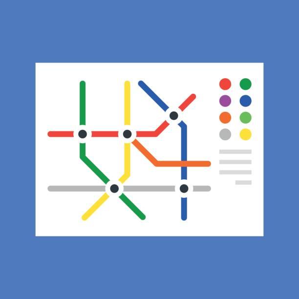 illustrations, cliparts, dessins animés et icônes de plan de métro, plan du métro. concept design plat moderne. illustration vectorielle - métro