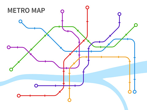 Subway map. Scheme underground and overground transport urban railway, graphic plan line connection city public transport network, colorful railroads and stations vector illustration