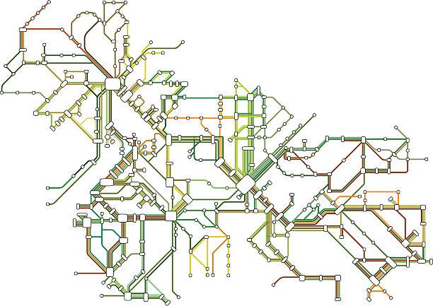 illustrazioni stock, clip art, cartoni animati e icone di tendenza di mappa della metropolitana - subway