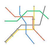 Subway omnichannel metro map. Omni channel tube underground train line map.