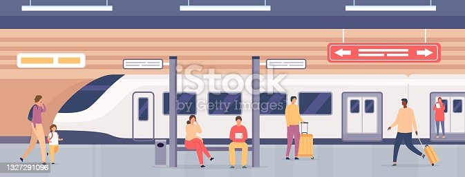 istock Subway platform with people. Passengers on metro station waiting for train. City underground public railway transport, flat vector concept 1327291096